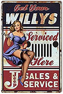 TYmall Rusty Look Jeep Willys Pin Up Girl Garage Oil Auto Car Metal Sign 8X12 Inch