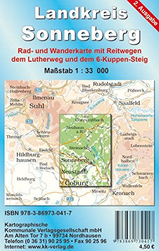 Landkreis Sonneberg: Rad- und Wanderkarte. Maßstab 1:33000