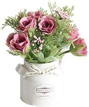Homeofying - Jarrón de cerámica con flores artificiales, para jardín, bodas, decoración, fiestas, etc.