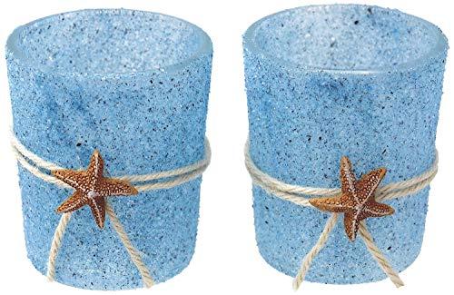 Kerzenhalter Teelichthalter Maritim Blau Seestern Tischdeko Teelichtgläser Deko Sommer 2 Stück