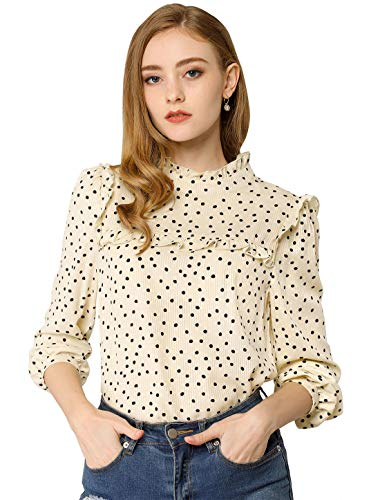 Allegra K Women's Vintage Long Sleeve Ruffle Polka Dots Blouse Top Medium Beige