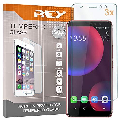 REY Pack 3X Panzerglas Schutzfolie für HTC U11 Eyes, Displayschutzfolie 9H+ Härte, Anti-Kratzen, Anti-Öl, Anti-Bläschen