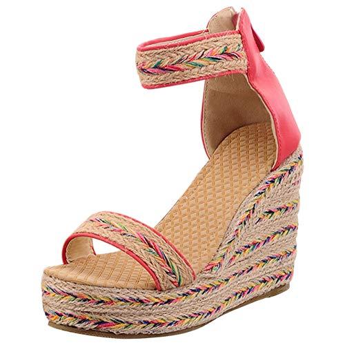 BIGTREE Wedge Sandals Damen Bohemia Platform Sommer Irisierender offener Zeh mit Knöchelriemen Espadrille Pink 45 EU