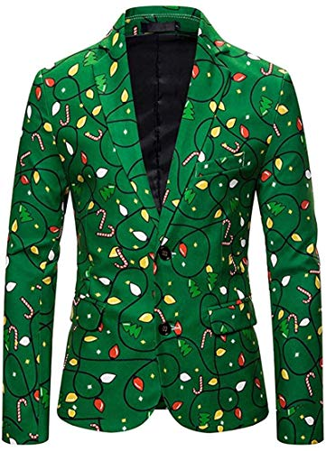 Gmhnssdszd Ugly Christmas Jackets for Men in Casual Prints – Xmas Sweater Blazer Two Button Slim Fit Suit Long Sleeve Shirt Coat