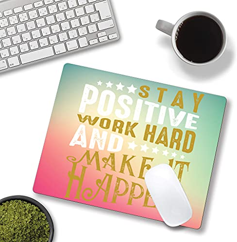Inspirational Quotes Mouse Pad, Motivational Quotes On Pink Green Background Mouse Mat, Square Waterproof Mouse Pad Non-Slip Rubber Base MousePads for Office Home Laptop Travel, Work Hard Photo #5