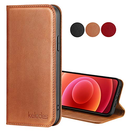 "keledes Compatible with iPhone 12 Mini 5G Wallet Case (5.4"" 2020),Genuine Leather Cover with Card Holder Slots Kickstand Magnet RFID Blocking TPU Shockproof Protective Folio Phone Case,Brown"