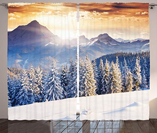 """Ambesonne Christmas Curtains, Winter Wonderland Snowfall Xmas December Fairytale Cold Scenic Shot, Living Room Bedroom Window Drapes 2 Panel Set, 108"""" X 84"""", Amber White Pale Blue"""