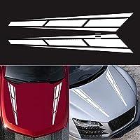 2(左右)レーシングボディステッカー、レーシングストライプステッカーBトラックフードステッカー80 * 12cm dayuhuozxhan (Color : White)