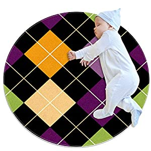 Pet Round Mat Grid Geometric Color Feeding Mat Colorful for Pet Dogs Cats Beds 39.4×39.4in