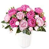 XONOR 3 Bouquets de Fleurs artificielles en Soie Pivoine Artificielle Fausse Fleur glorieuse pour la décoration de Maison Nuptiale de Noce, 5 fourchettes, 9 têtes