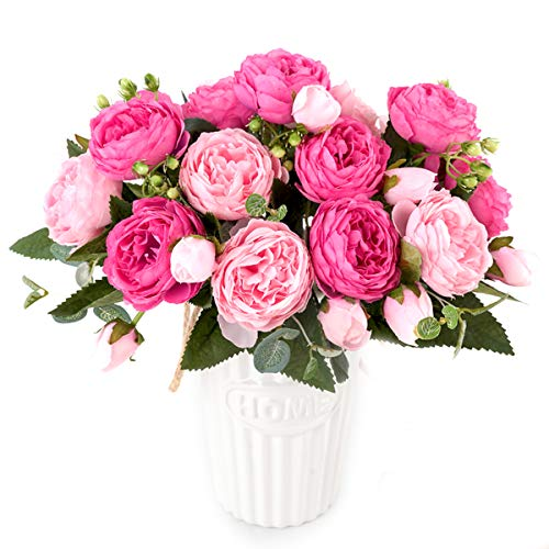 4 Packs Artificial Peony Silk Flowers Fake Glorious Flower Bouquets for Wedding Party Bridal Home Decoration, 5 Forks, 9 Head (Rose Red & Pink)