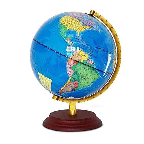 Globus Globe Home Office Desk Dekorationen Interaktive Lern Swivel Desktop-Kugel-Licht-Geschenk for Kinder Schüler Erwachsene Durchmesser 25 CM Educational Geographic Lernen Spielzeug (Farbe: Blau,