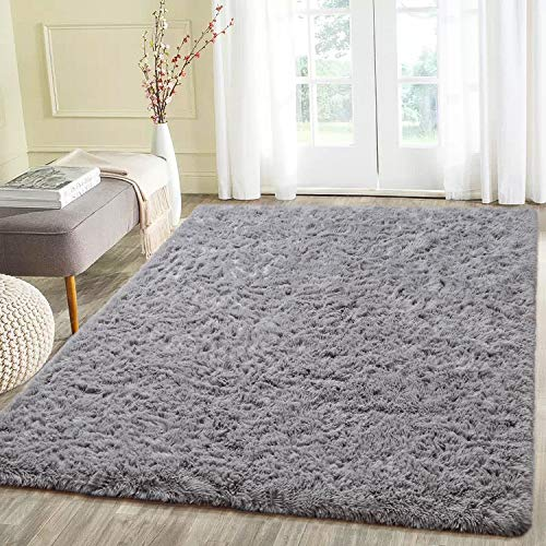 Beglad 4 ft x 5.3 ft Soft Fluffy Area Rug Modern Shaggy Bedroom Rugs for Kids Room Extra Comfy Nursery Rug Floor Carpets Boys Girls Fuzzy Shag Fur Home Decor Rug, Grey