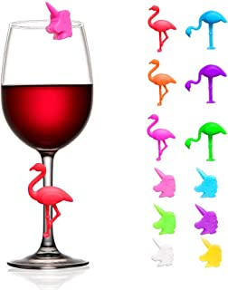 Wine Glass Markers Set of 12 Silicone Drinking Glass Charms Washable Flamingo and Unicorn Pattern