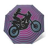 Parapluie Pliant, Parapluie Pliable Automatique Ouverture et Fermeture Résistant à Tempête Compact Léger Parapluie De Voyage pour Homme et Femme Vélo Tout-Terrain 49