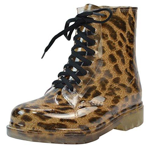 LvRao Damen wasserdichte Schnürschuhe Kurz Boots Schnee Regen Booties Casual Garten Stiefel Gummistiefel Leopard Europäische Größe 38