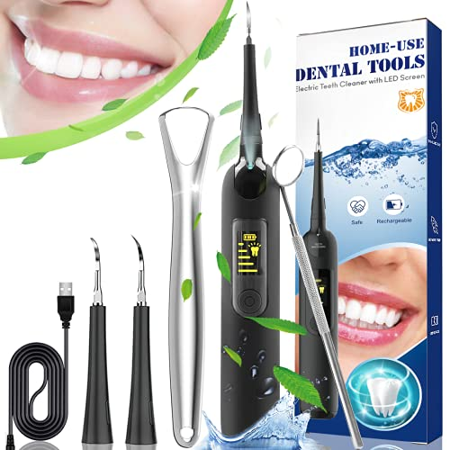 Plaque Remover for Teeth,Ultrasonic Tooth Cleaner, Cordless Dental Calculus Remover Tartar Stain Remover,5 Modes 2 Clean Heads Teeth Cleaning Kit, IPX6 Waterproof, Low Noise