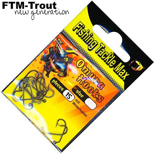 FTM Haken Omura Hooks Jig - 15 Jighaken für Tungsten Perlen, Forellenhaken, Angelhaken für Gummiköder, Größe:6