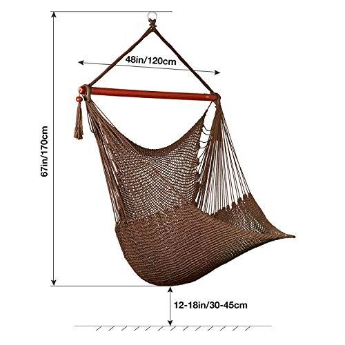 Greenstellハンモックチェア吊り下げ式ロープチェアスイベル付き360°回転可能椅子型ハンモック大人&子供兼用ハンギングチェア耐荷重136KG窮屈さなし設定簡単持ち運び便利高さ調整可能座り心地良い室内屋外使用可アウトドアチェアキャンプ公園ハイキングピクニック釣りなど場合活躍ブラウン