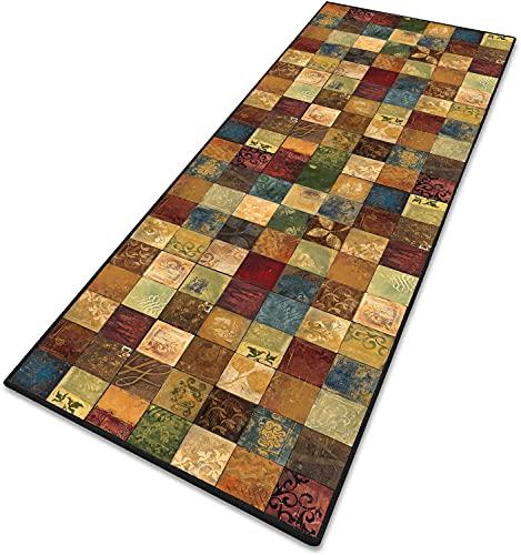 Teppich Wohnzimmer Teppich küche Geometrische Muster Kurzflor 6mm rutschfest & leicht abwaschbar für Wohnzimmer, Flur, Büro, Schlafzimmer, Küche, Esszimmer gekettelt - 90x460cm