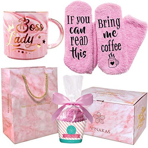 VINAKAS Boss Lady Gift Set - 12oz Gold Pink Ceramic Marble. Boss Mug Reads' BOSS LADY' - Funny gifts...