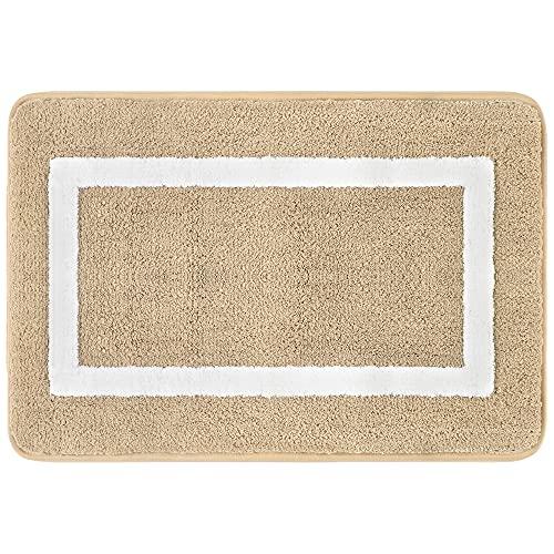 Famibay Beige Tapis de Bain Moelleux en Microfibre Tapis de Salle de Bain Absorbant 45x65cm Carpette de Douche Antiderapant Tapis de Sol de Bain Lavable en Machine pour Baignoire Toilette Cuisine
