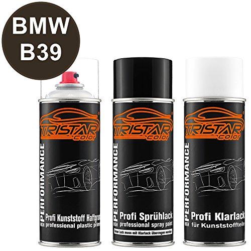 TRISTARcolor Autolack Spraydosen Set für Kunststoff Stoßstange für BMW B39 Mineralgrau Metallic/Mineral Grey Metallic Haftgrund Basislack Klarlack mit Weichmacher Sprühdose