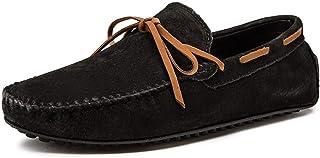 XFQ Chaussures Bateau pour Homme, Mode Chaussures Casual Frosted Cuir Sole Chaussures Mode De Conduite Légère D'été,Noir,49EU