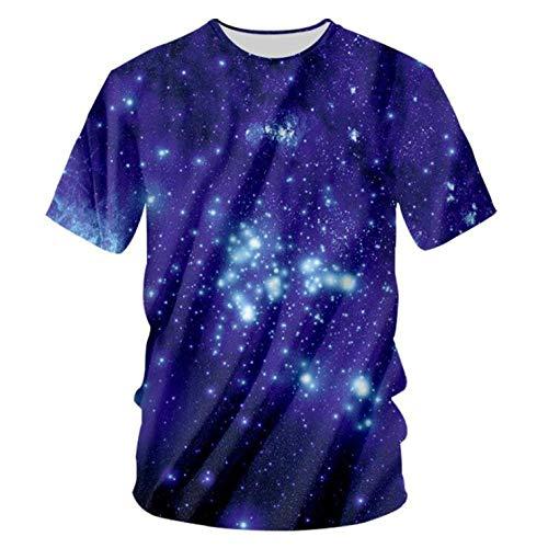 Preisvergleich Produktbild T-Shirts, Mode Herren Cosmic Sky Kurzarm Sommerkleidung T-Shirt Ultra Trocken Atmungsaktiv Unisex Lila 4XL