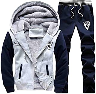 omniscient Men's Velvet Hoodies Sweatshirts Jackets and Jogger Pants Tracksuit