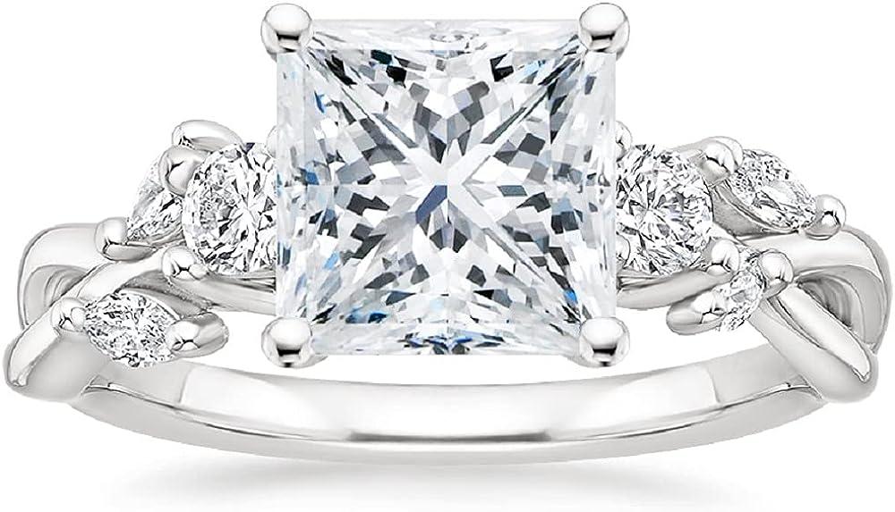 Gemonite 3.00 CT Princess Colorless Moissanite Engagement Ring,