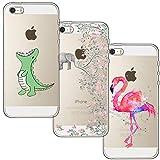 [3 Pack] iPhone 5 Case, iPhone 5S Case, iPhone SE Case, Blossom01 Ultra Thin Soft Gel TPU Silicone Case Cover with Cute Cartoon for Apple iPhone 5 / 5S / SE - Crocodile & Elephant Flowers & Flamingo