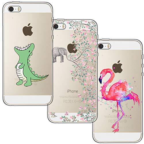 [3 Stück] iPhone 5 Hülle, iPhone 5S Hülle, iPhone SE Hülle, Blossom01 Cute Funny Kreative Cartoon Transparent Silikon Bumper für iPhone 5 / 5S / SE - Krokodil & Elefant Blumen & Flamingo