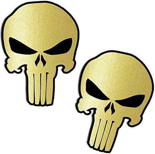 Biomar Labs® 2 Stück Vinyl Punisher Gold Totenkopf Schädel Aufkleber Autoaufkleber Stickers Auto Moto Motorrad Fahrrad Helm Fenster Tuning B 221