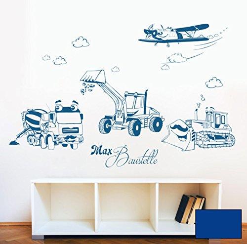 Wandtattoo Wandaufkleber Baustellen Autos Baufahrzeuge Baustelle Bagger Mischer Raupe und Flugzeug mit Wunschnamen M1733 - ausgewählte Farbe: *Blau* - ausgewählte Größe: *L - 100cm breit x 65cm*