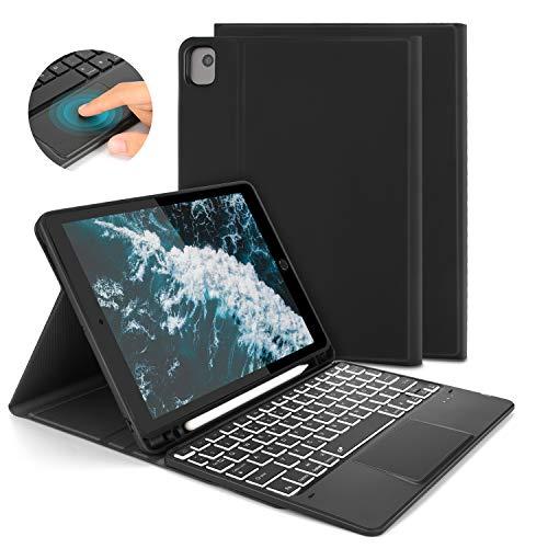 Jelly Comb Beleuchtete Tastatur Hülle mit Touchpad für iPad 10.2 2019 (7th. Gen)/iPad Air 3/iPad Pro 10.5, Abnehmbare Kabellose QWERTZ Tastatur mit Schützhülle/Trackpad, Schwarz