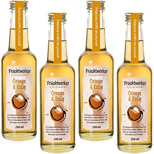 Fruchtwerker | Orange & Essig | Mit Saft aus echten Früchten| 4er Pack | 4x 250ml Glasflasche