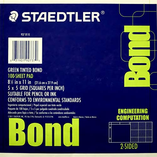 Staedtler Engineering Computation Pad, 5 x 5 Grid, 100 Sheets