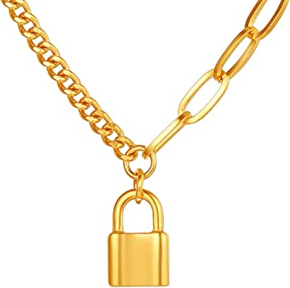 Y Padlock Necklace Gold Cuban Chain Lock Choker Women Tiktok Eboy Egirl