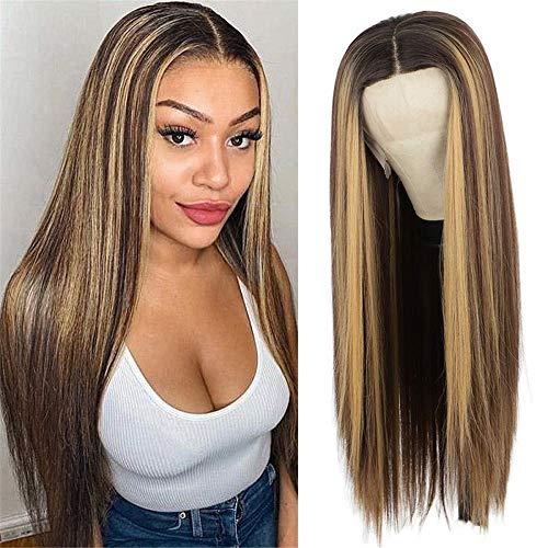 peluca,Peluca de pelo largo y liso para mujeres europeas y americanas, tocado de malla rosa de fibra qumica marrn degradado resaltado