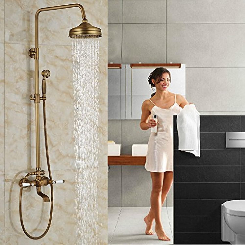 Wandmontage Badewanne Regendusche Wasserhahn Set Messing Antike Duscheinheiten Doppelhebel Mischbatterie, Klar