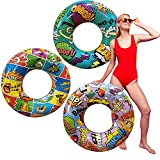 Pack of 3 POP-Art Comics Inflatable Rings, Pool Float Tube raft, Beach Summer Party Supplies, Theme Party Favor
