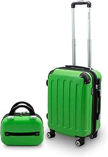 Berwin Trolley Reisekoffer Reisetasche Gepäcktasche Boardcase Handgepäck Größe M  Beautycase Schminkkoffer Modell Stripes Grün