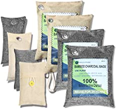 Bamboo Activated Charcoal Air Purifying Bag Car Air Freshener Purifier Filter Closet Shoe Deodorizer Moisture Absorber Odor Eliminators For Home Basement Room Natural Non-Toxic Eco-Friendly 8 PACKS