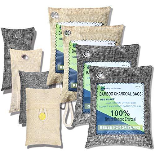 wyewye Activated Bamboo Charcoal Air Purifying Bags Eco Friendly and Moisture Absorber for for Car Closet Shoe Home Basement Litter Box Cigarette Smoke Gym