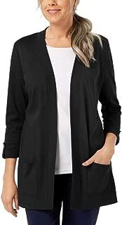 Karen Scott Women's Cotton 3/4-Sleeve Open-Front Cardigan, Deep Black, X-Large