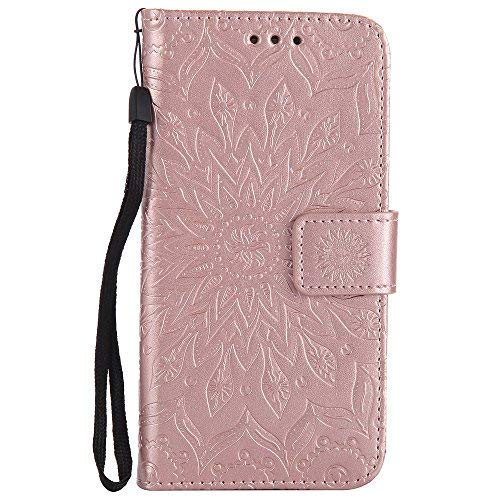 LG G3 Case,LEECOCO Fancy Embossed Floral Pattern Wallet Case with Card/Cash Slots [Kickstand] Shockproof Premium PU Leather Flip Case Cover for LG G3 with 1 x Stylus Pen Mandala Rose Gold