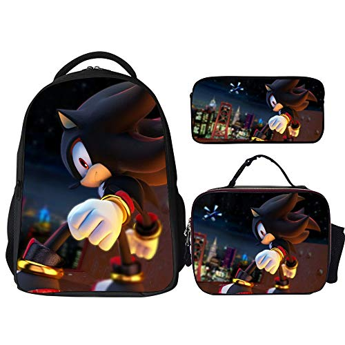 Sonic Backpacks 3Pcs Set,Sonic Shadow The Hedgehog Black,Backpack with Lunch Bag and Pencil Case Kids 3 in 1 Bookbags Set Cute School Bag for Teen Girls Boys Water Resistant