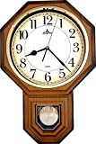 Justime Traditional Schoolhouse Arabic Pendulum Wall Clock Chimes Hourly with Westminster Melody Made in Taiwan (PP0258-ALW Light Wood Grain)