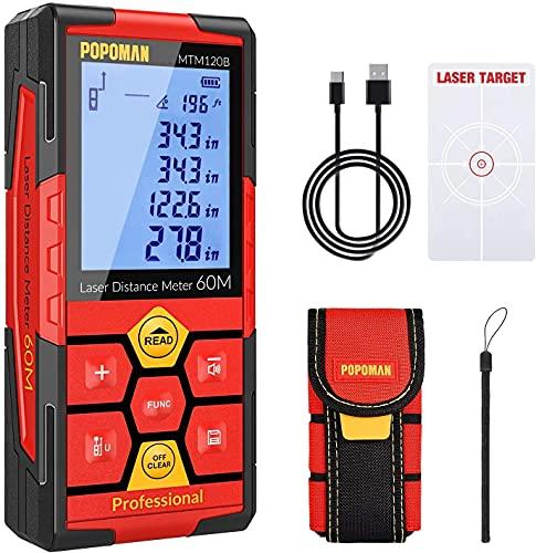 Misuratore Laser 60M POPOMAN, Litio-Batteria, Telemetro laser, USB Carica, 99 dati, M/In/Ft/Ft+in, Sensore di Angolo Elettronico, 2,25'' LCD Retroilluminato, Funzione Mute, Distanza, Area e Volume